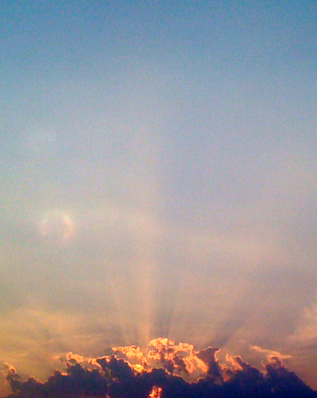 Rays of light piercing the clouds